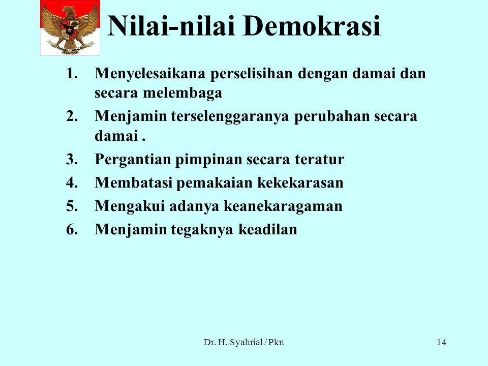 Dr. H. Syahrial / Pkn13 Asas Pokok Demokrasi Pengakuan partisipasi di dalam pemerintahan. Pengakuan hakikat dan martabat manusia.