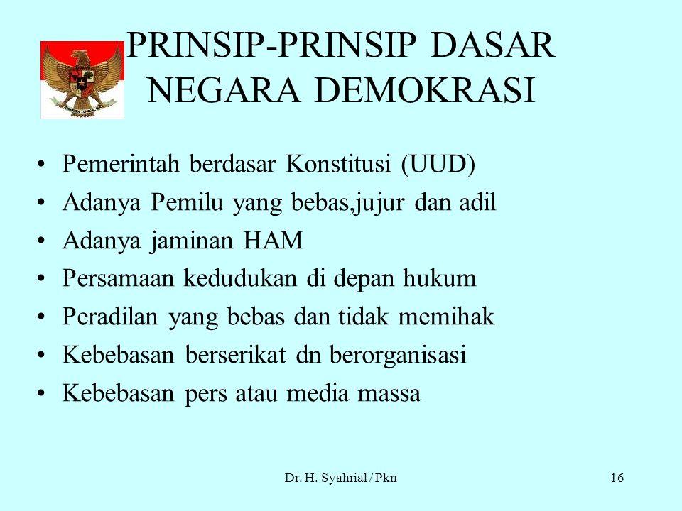 Dr. H. Syahrial / Pkn15 ciri-ciri demokrasi Keputusan diambil berdasarkan suara rakyat. Kebebasan individu dibatasi oleh kepentingan bersama, kekuasaa