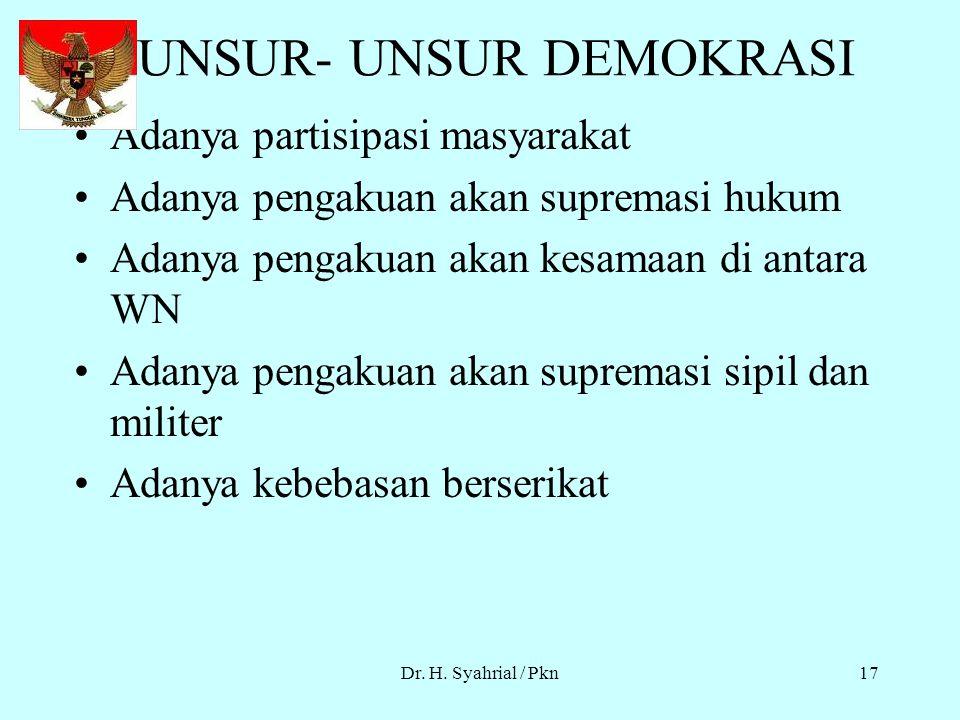 Dr. H. Syahrial / Pkn16 PRINSIP-PRINSIP DASAR NEGARA DEMOKRASI Pemerintah berdasar Konstitusi (UUD) Adanya Pemilu yang bebas,jujur dan adil Adanya jam
