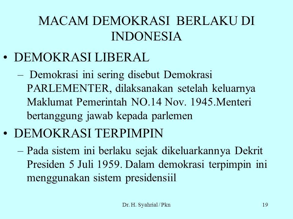 Dr. H. Syahrial / Pkn18 BENTUK BENTUK DEMOKRASI Sistem parlementer Sistem Pemisahan kekuasaan(presidensiil) Sistem Referandum : –Sistem referandum Obl