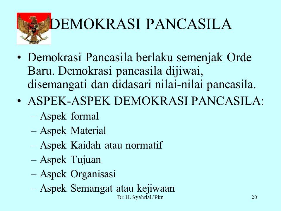 Dr. H. Syahrial / Pkn19 MACAM DEMOKRASI BERLAKU DI INDONESIA DEMOKRASI LIBERAL – Demokrasi ini sering disebut Demokrasi PARLEMENTER, dilaksanakan sete