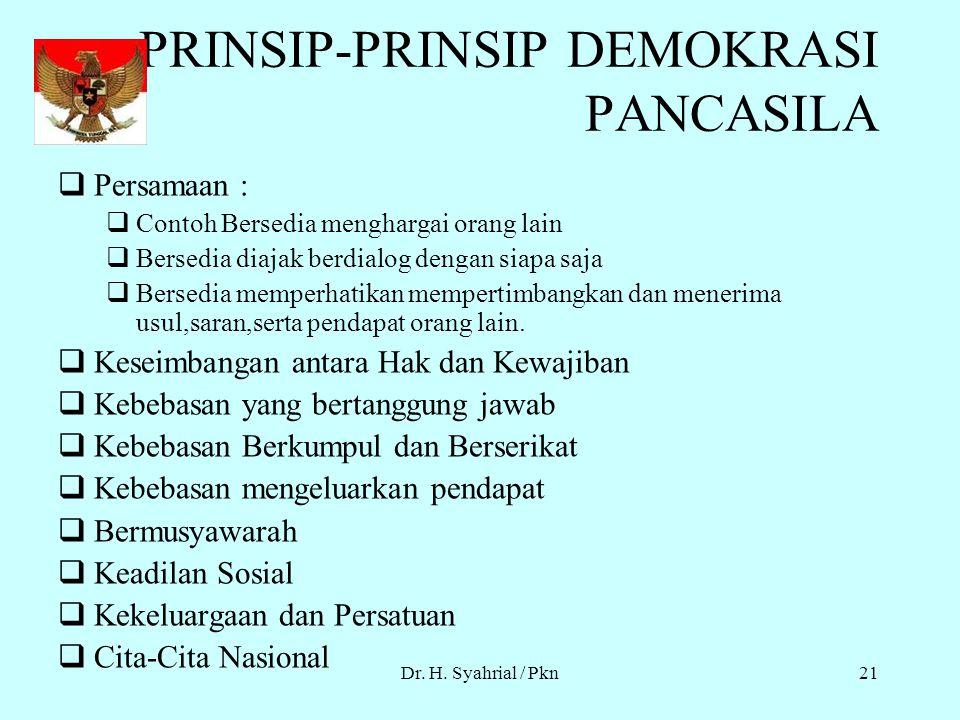Dr. H. Syahrial / Pkn20 DEMOKRASI PANCASILA Demokrasi Pancasila berlaku semenjak Orde Baru. Demokrasi pancasila dijiwai, disemangati dan didasari nila