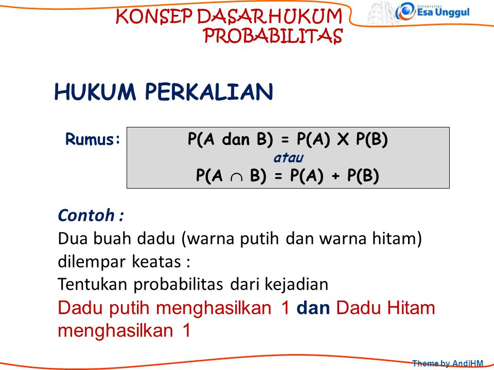 Theme by AndiHM KONSEP DASAR HUKUM PROBABILITAS HUKUM PERKALIAN P(A dan B) = P(A) X P(B) atau P(A  B) = P(A) + P(B) Rumus: Contoh : Dua buah dadu (wa