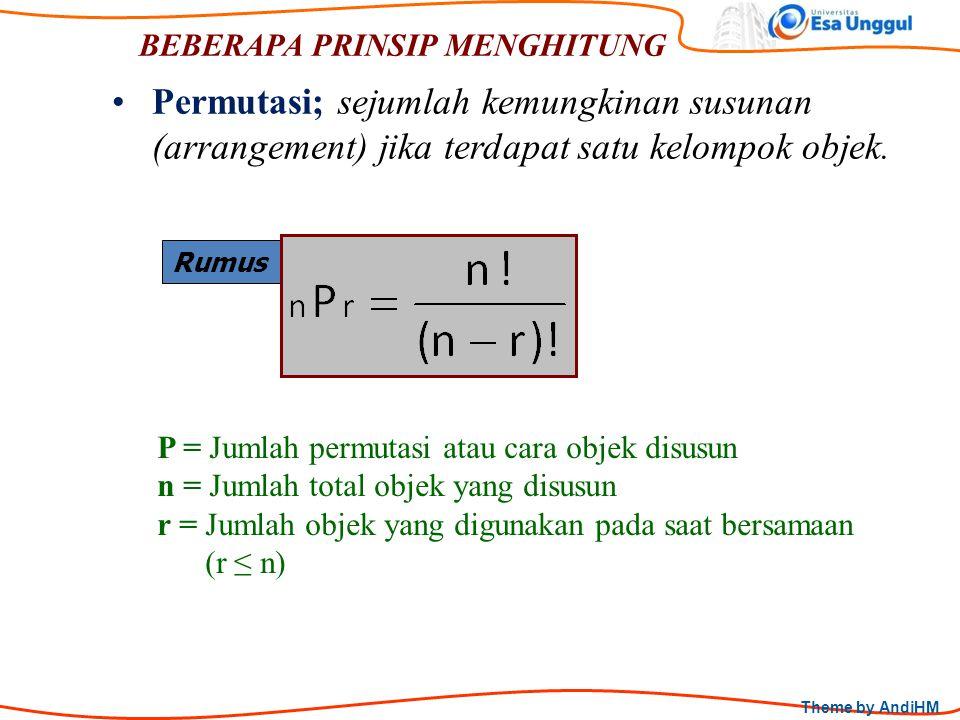 Theme by AndiHM BEBERAPA PRINSIP MENGHITUNG Rumus Permutasi; sejumlah kemungkinan susunan (arrangement) jika terdapat satu kelompok objek. P = Jumlah