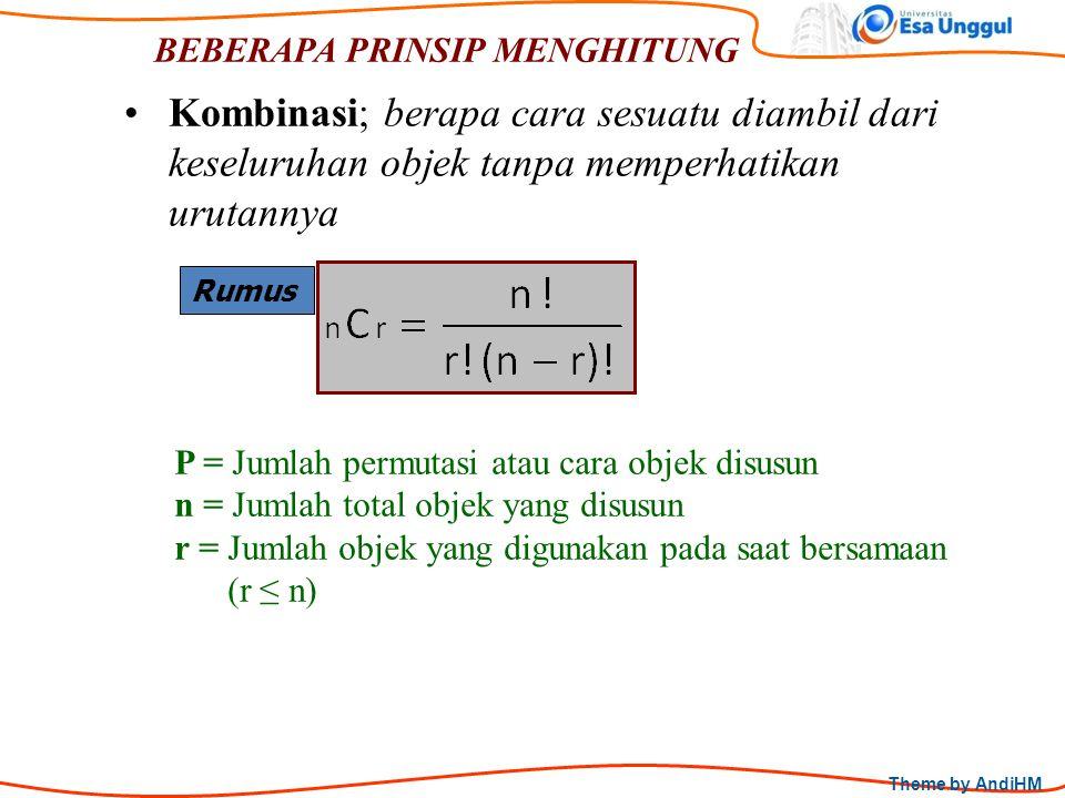 Theme by AndiHM BEBERAPA PRINSIP MENGHITUNG Rumus Kombinasi; berapa cara sesuatu diambil dari keseluruhan objek tanpa memperhatikan urutannya P = Juml