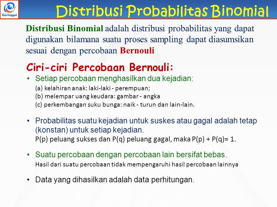 Distribusi Probabilitas Binomial Ciri-ciri Percobaan Bernouli: Setiap percobaan menghasilkan dua kejadian: (a) kelahiran anak: laki-laki - perempuan;