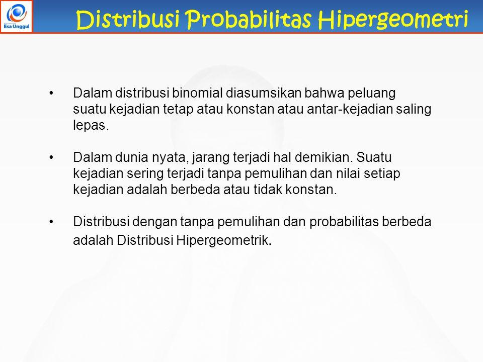 Distribusi Probabilitas Hipergeometri Dalam distribusi binomial diasumsikan bahwa peluang suatu kejadian tetap atau konstan atau antar-kejadian saling