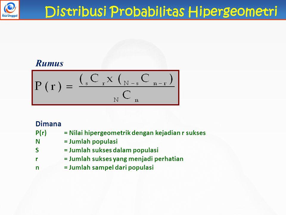 Distribusi Probabilitas Hipergeometri Rumus Dimana P(r)= Nilai hipergeometrik dengan kejadian r sukses N= Jumlah populasi S= Jumlah sukses dalam popul