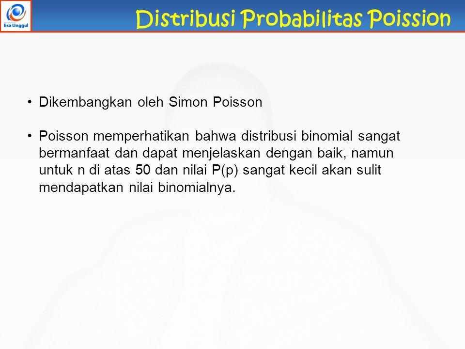 Distribusi Probabilitas Poission Dikembangkan oleh Simon Poisson Poisson memperhatikan bahwa distribusi binomial sangat bermanfaat dan dapat menjelask