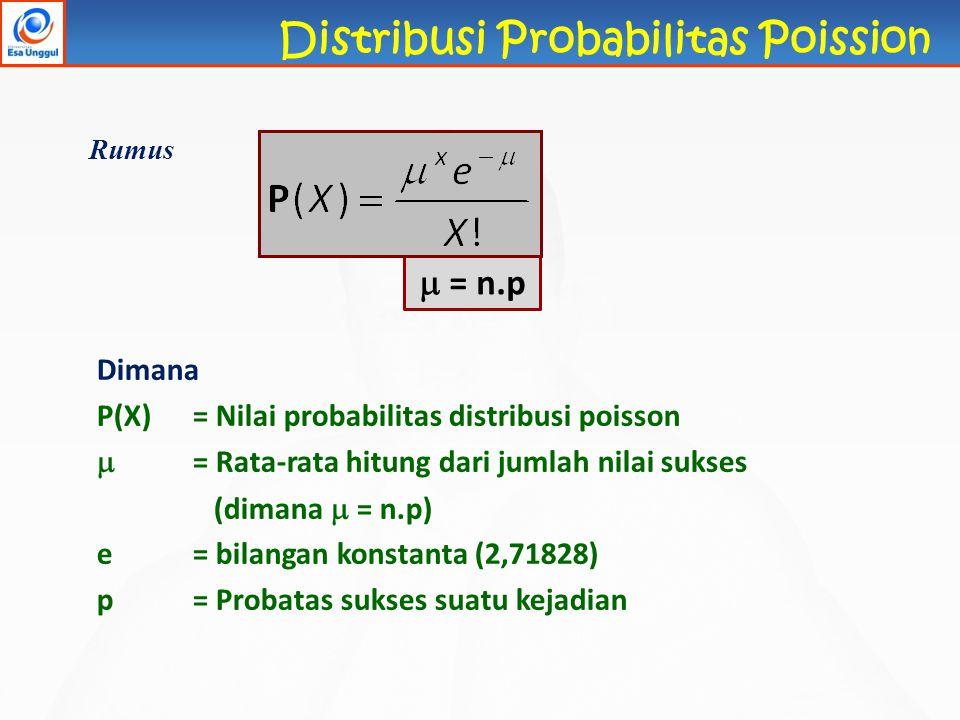  = n.p Rumus Dimana P(X)= Nilai probabilitas distribusi poisson  = Rata-rata hitung dari jumlah nilai sukses (dimana  = n.p) e= bilangan konstanta