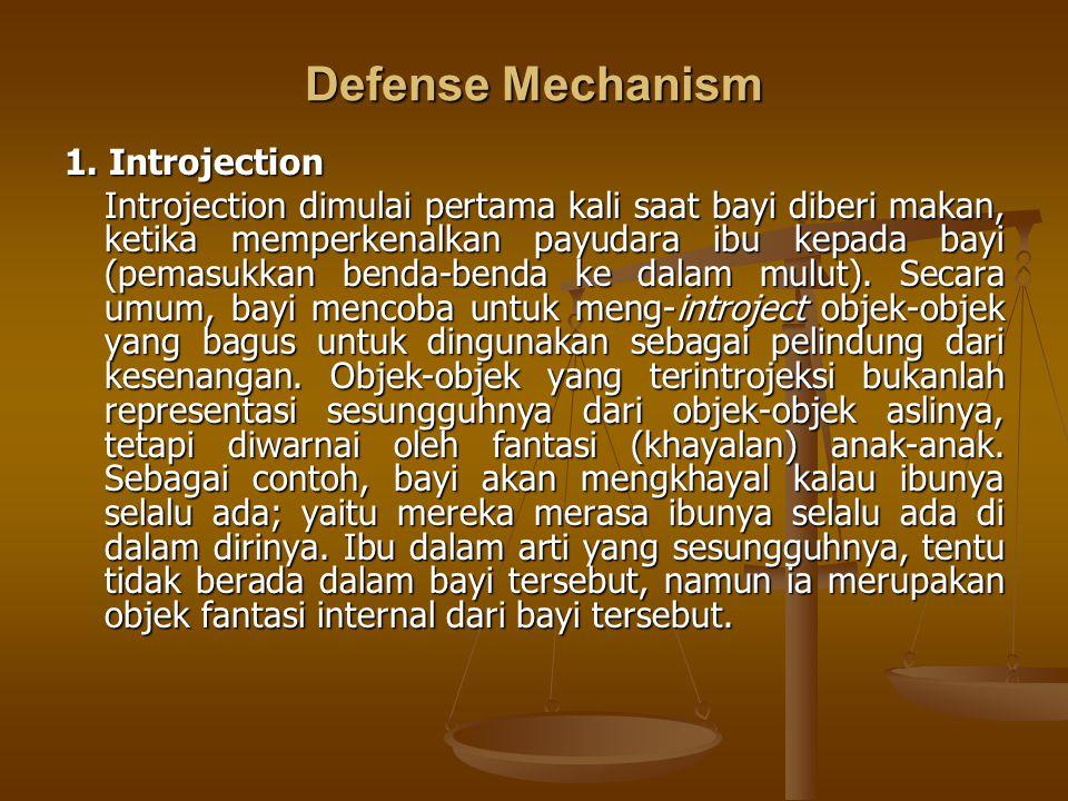 Defense Mechanism 1. Introjection Introjection dimulai pertama kali saat bayi diberi makan, ketika memperkenalkan payudara ibu kepada bayi (pemasukkan