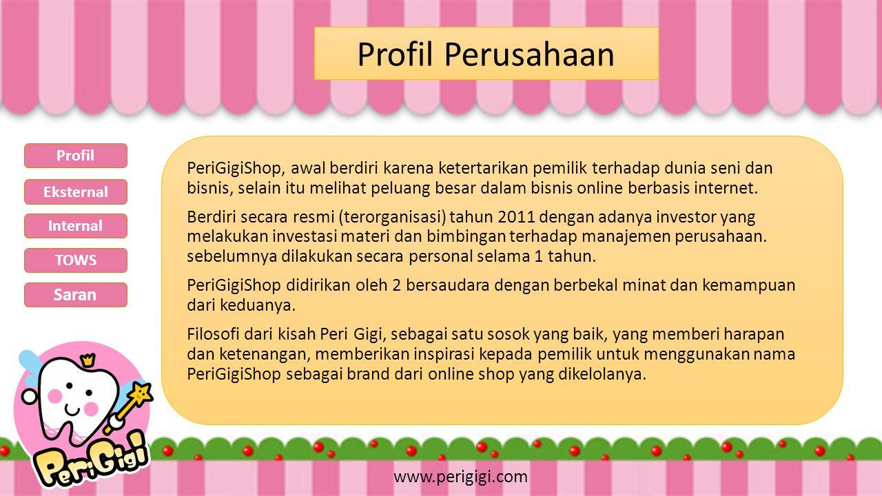 PeriGigiShop, awal berdiri karena ketertarikan pemilik terhadap dunia seni dan bisnis, selain itu melihat peluang besar dalam bisnis online berbasis i