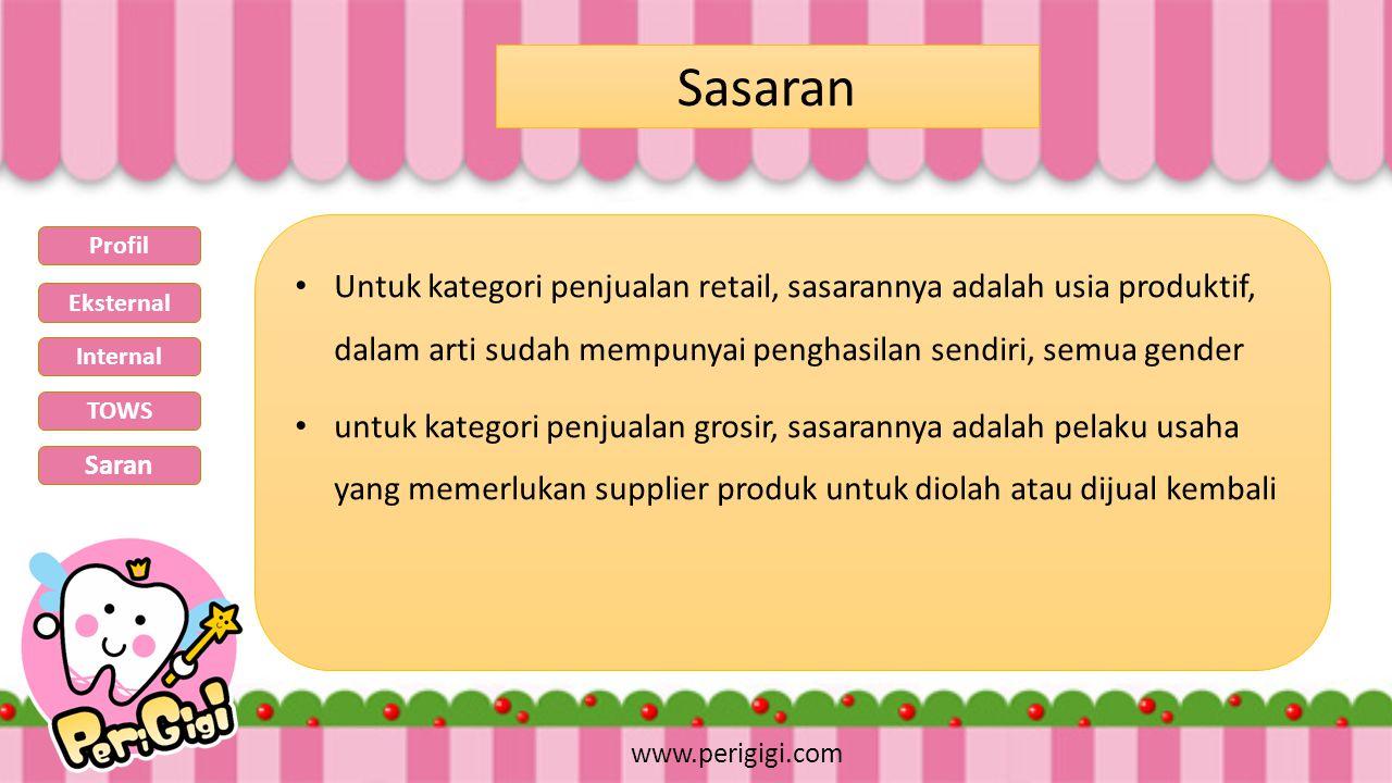 Sasaran www.perigigi.com Untuk kategori penjualan retail, sasarannya adalah usia produktif, dalam arti sudah mempunyai penghasilan sendiri, semua gend