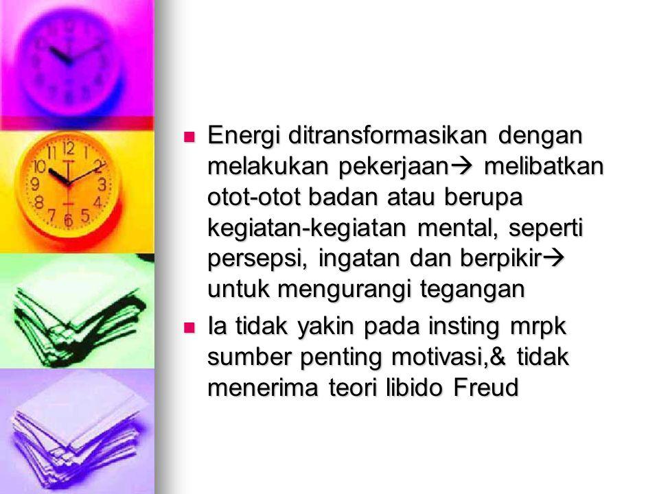Energi ditransformasikan dengan melakukan pekerjaan  melibatkan otot-otot badan atau berupa kegiatan-kegiatan mental, seperti persepsi, ingatan dan berpikir  untuk mengurangi tegangan Energi ditransformasikan dengan melakukan pekerjaan  melibatkan otot-otot badan atau berupa kegiatan-kegiatan mental, seperti persepsi, ingatan dan berpikir  untuk mengurangi tegangan Ia tidak yakin pada insting mrpk sumber penting motivasi,& tidak menerima teori libido Freud Ia tidak yakin pada insting mrpk sumber penting motivasi,& tidak menerima teori libido Freud