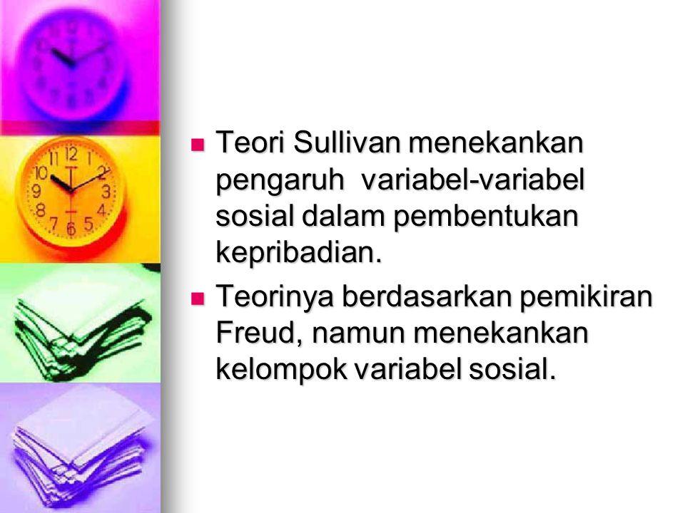 Teori Sullivan menekankan pengaruh variabel-variabel sosial dalam pembentukan kepribadian. Teori Sullivan menekankan pengaruh variabel-variabel sosial