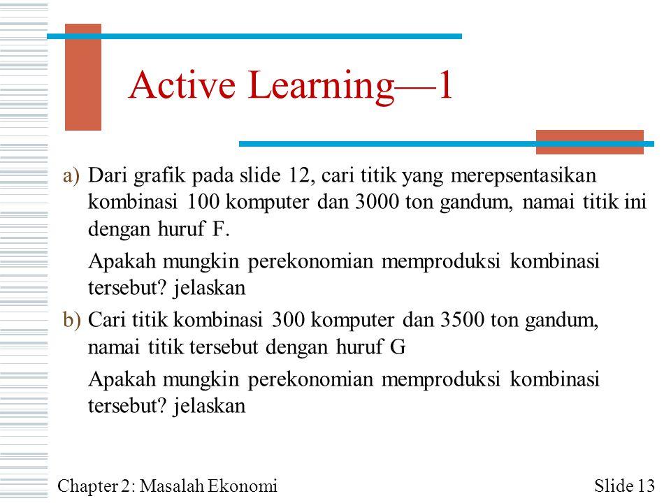 Active Learning—1 a)Dari grafik pada slide 12, cari titik yang merepsentasikan kombinasi 100 komputer dan 3000 ton gandum, namai titik ini dengan huru