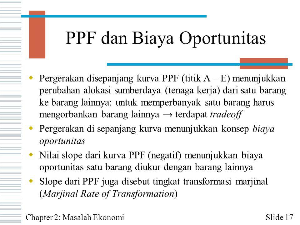 PPF dan Biaya Oportunitas  Pergerakan disepanjang kurva PPF (titik A – E) menunjukkan perubahan alokasi sumberdaya (tenaga kerja) dari satu barang ke