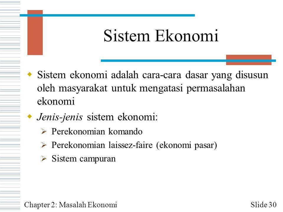 Sistem Ekonomi  Sistem ekonomi adalah cara-cara dasar yang disusun oleh masyarakat untuk mengatasi permasalahan ekonomi  Jenis-jenis sistem ekonomi: