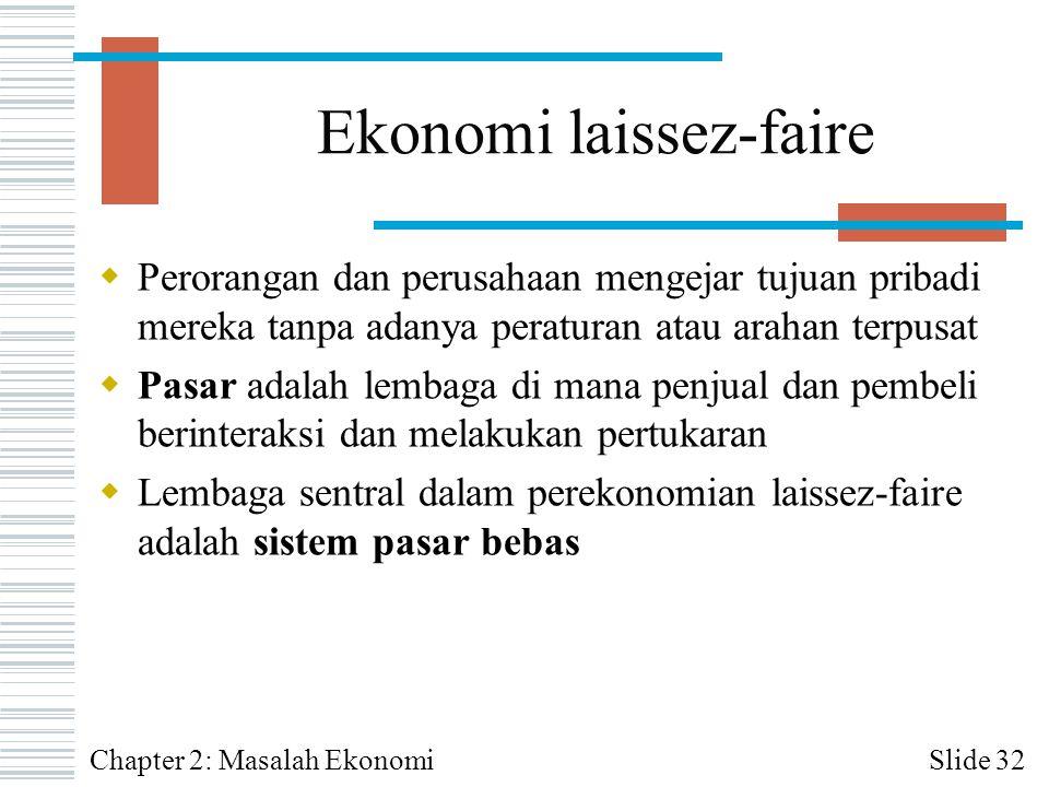 Ekonomi laissez-faire  Perorangan dan perusahaan mengejar tujuan pribadi mereka tanpa adanya peraturan atau arahan terpusat  Pasar adalah lembaga di