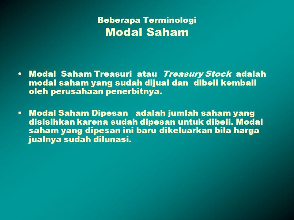 Beberapa Terminologi Modal Saham Modal Saham Treasuri atau Treasury Stock adalah modal saham yang sudah dijual dan dibeli kembali oleh perusahaan pene