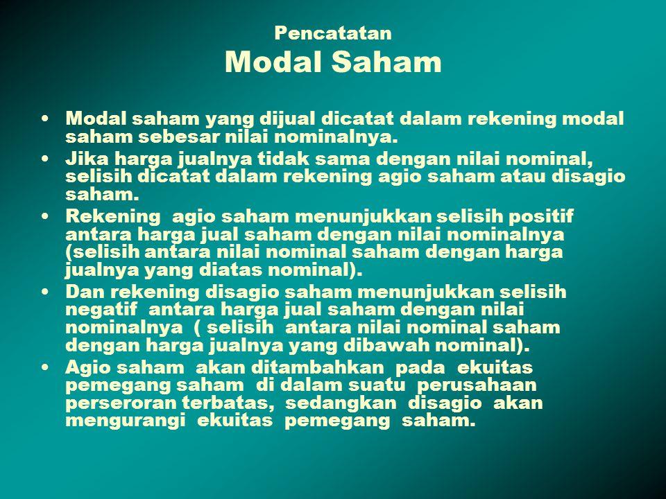 Pencatatan Modal Saham Modal saham yang dijual dicatat dalam rekening modal saham sebesar nilai nominalnya. Jika harga jualnya tidak sama dengan nilai