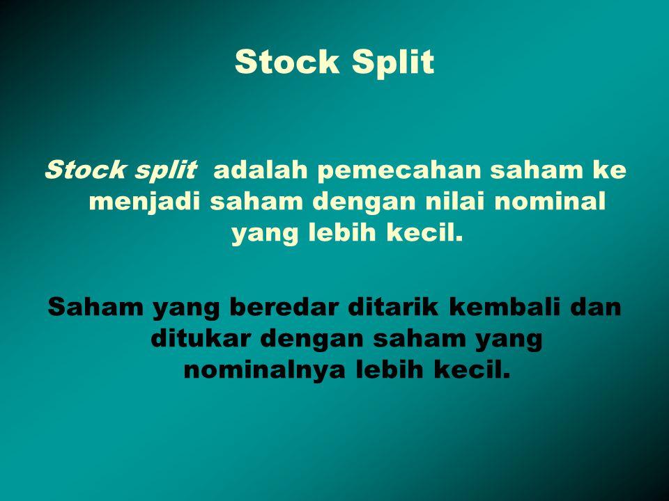 Stock Split Stock split adalah pemecahan saham ke menjadi saham dengan nilai nominal yang lebih kecil. Saham yang beredar ditarik kembali dan ditukar