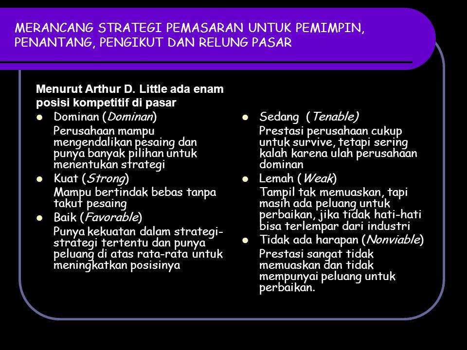 STRATEGI PENGIKUT PASAR (MARKET FOLLOWER) Strategi yang dapat diterapkan: 1.