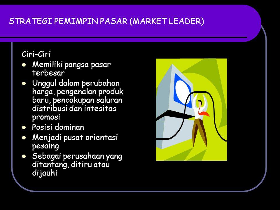 STRATEGI PEMIMPIN PASAR (MARKET LEADER) Ciri-Ciri Memiliki pangsa pasar terbesar Unggul dalam perubahan harga, pengenalan produk baru, pencakupan salu