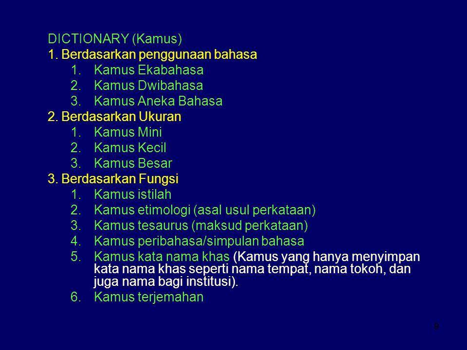 9 DICTIONARY (Kamus) 1.Berdasarkan penggunaan bahasa 1.Kamus Ekabahasa 2.Kamus Dwibahasa 3.Kamus Aneka Bahasa 2.Berdasarkan Ukuran 1.Kamus Mini 2.Kamu