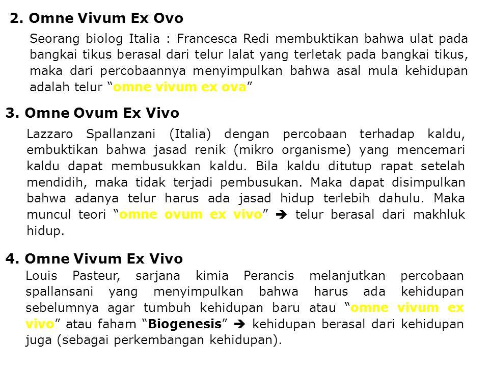 2. Omne Vivum Ex Ovo Seorang biolog Italia : Francesca Redi membuktikan bahwa ulat pada bangkai tikus berasal dari telur lalat yang terletak pada bang