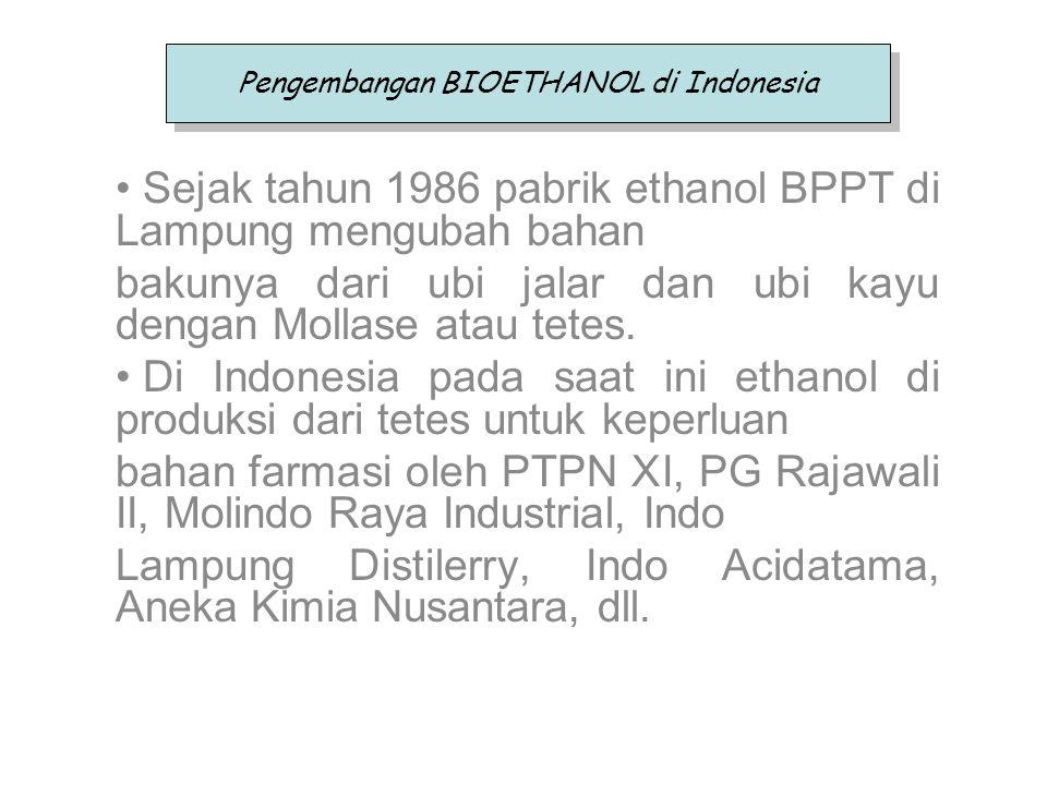 Sejak tahun 1986 pabrik ethanol BPPT di Lampung mengubah bahan bakunya dari ubi jalar dan ubi kayu dengan Mollase atau tetes. Di Indonesia pada saat i