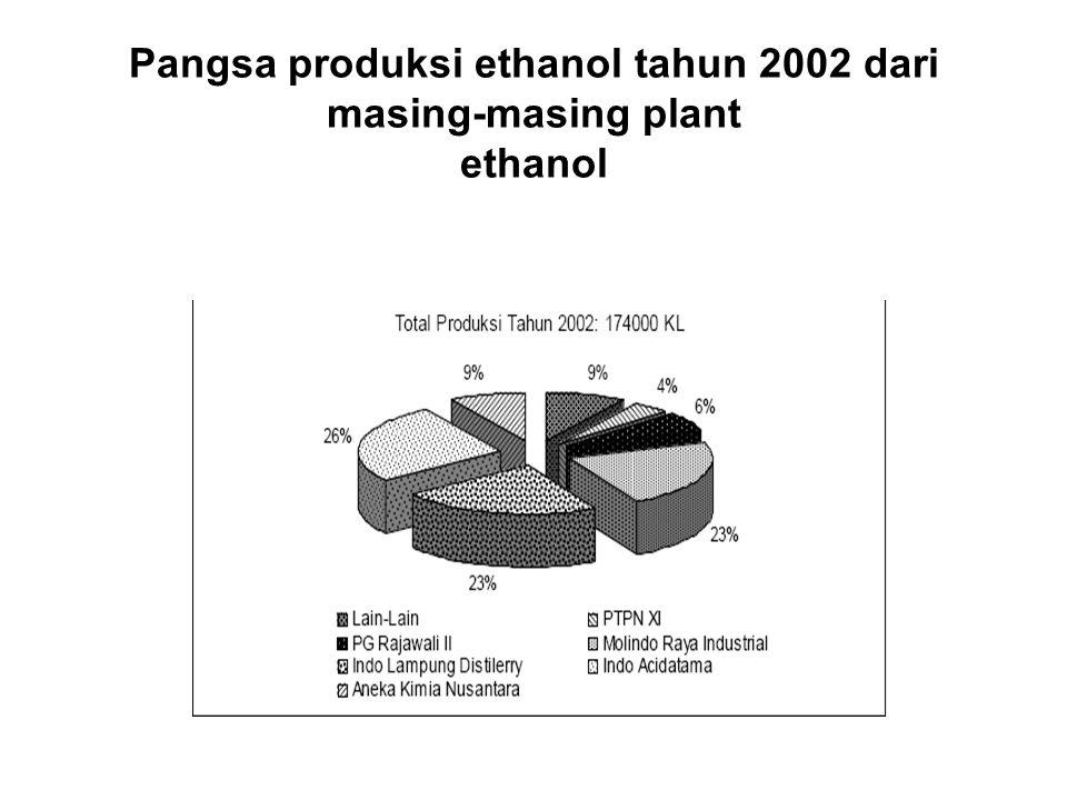 Pangsa produksi ethanol tahun 2002 dari masing-masing plant ethanol