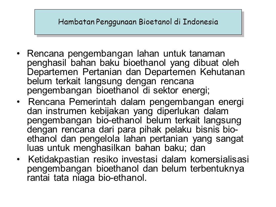 Rencana pengembangan lahan untuk tanaman penghasil bahan baku bioethanol yang dibuat oleh Departemen Pertanian dan Departemen Kehutanan belum terkait