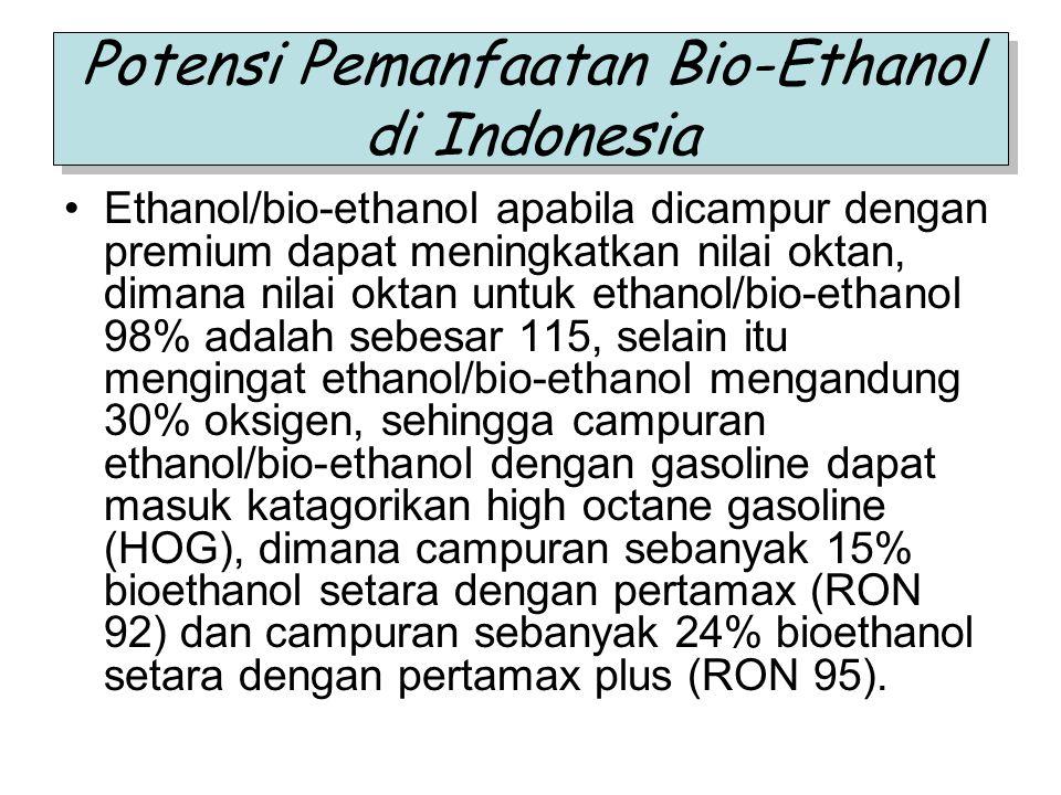 Potensi Pemanfaatan Bio-Ethanol di Indonesia Ethanol/bio-ethanol apabila dicampur dengan premium dapat meningkatkan nilai oktan, dimana nilai oktan un