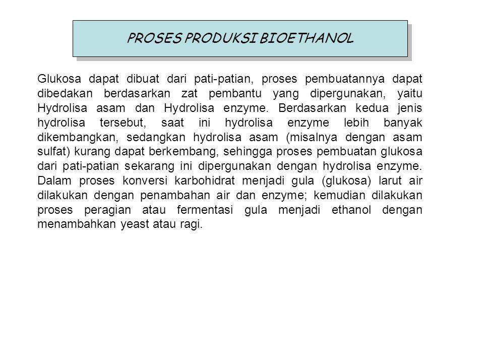 PROSES PRODUKSI BIOETHANOL Glukosa dapat dibuat dari pati-patian, proses pembuatannya dapat dibedakan berdasarkan zat pembantu yang dipergunakan, yait