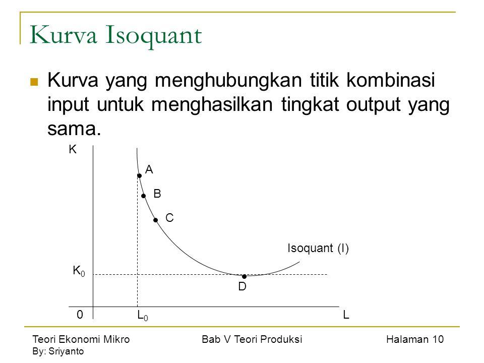 Teori Ekonomi Mikro Bab V Teori Produksi Halaman 10 By: Sriyanto Kurva Isoquant Kurva yang menghubungkan titik kombinasi input untuk menghasilkan tingkat output yang sama.