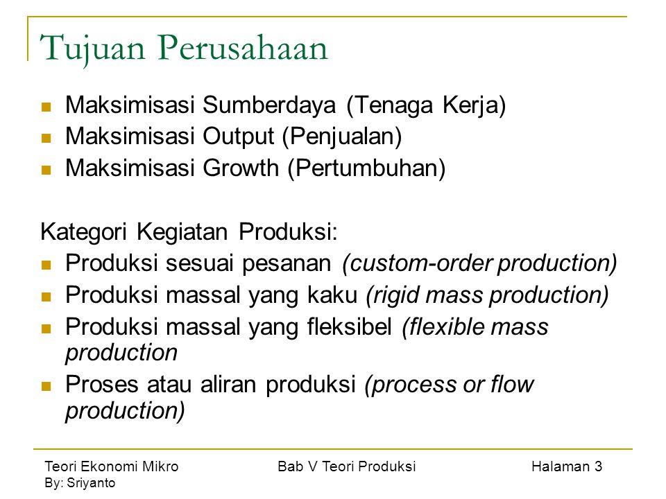 Teori Ekonomi Mikro Bab V Teori Produksi Halaman 3 By: Sriyanto Tujuan Perusahaan Maksimisasi Sumberdaya (Tenaga Kerja) Maksimisasi Output (Penjualan) Maksimisasi Growth (Pertumbuhan) Kategori Kegiatan Produksi: Produksi sesuai pesanan (custom-order production) Produksi massal yang kaku (rigid mass production) Produksi massal yang fleksibel (flexible mass production Proses atau aliran produksi (process or flow production)