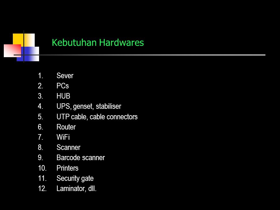 Kebutuhan Softwares 1.Operating system: a.Linux Server Operating System: redhat, Debian, SuSE/Novell b.Microsoft Windows Operating System c.Mac Operating System d.WindowsNT Server Operating System e.Windows…… Server Operating System f.Virtual Server Operating System 2.Aplikasi automasi perpustakaan: SOFTWARE INDONESIA: 1.UNSLA 2.DEWA PUSTAKA 3.SIMPUS 4.NCI/Bookman 5.CDS-ISIS 6.WINISIS 7.SIPRUS 8.IBRA
