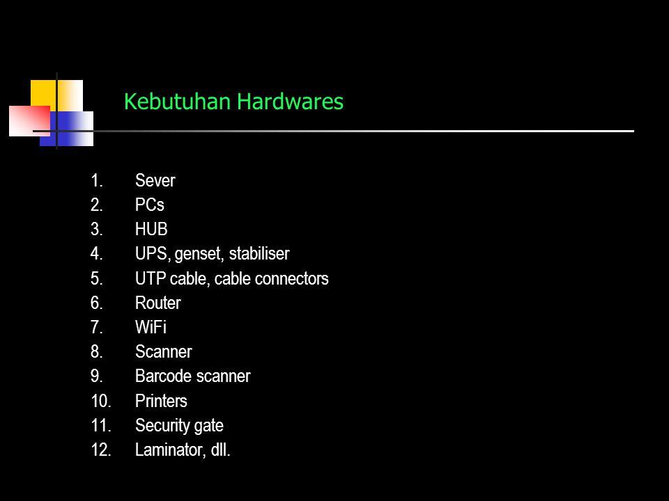 Kebutuhan Hardwares 1.Sever 2.PCs 3.HUB 4.UPS, genset, stabiliser 5.UTP cable, cable connectors 6.Router 7.WiFi 8.Scanner 9.Barcode scanner 10.Printers 11.Security gate 12.Laminator, dll.