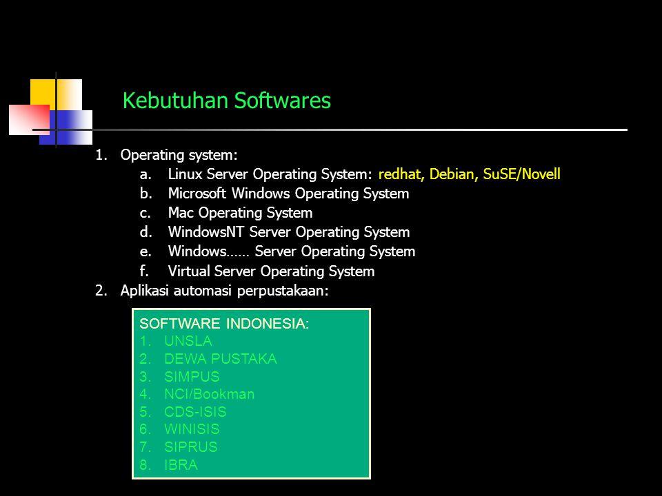 Kebutuhan Softwares 1.Operating system: a.Linux Server Operating System: redhat, Debian, SuSE/Novell b.Microsoft Windows Operating System c.Mac Operat