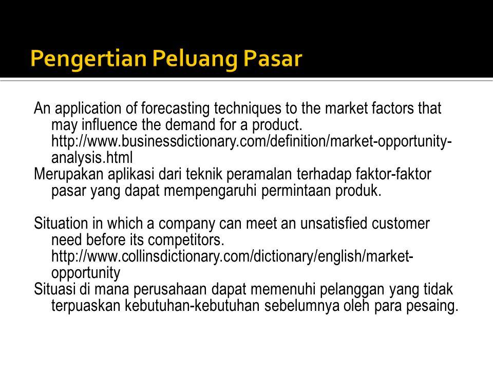 1.Kotler (1997:72): adalah suatu bidang kebutuhan pembeli di mana perusahaan dapat beroperasi secara menguntungkan.