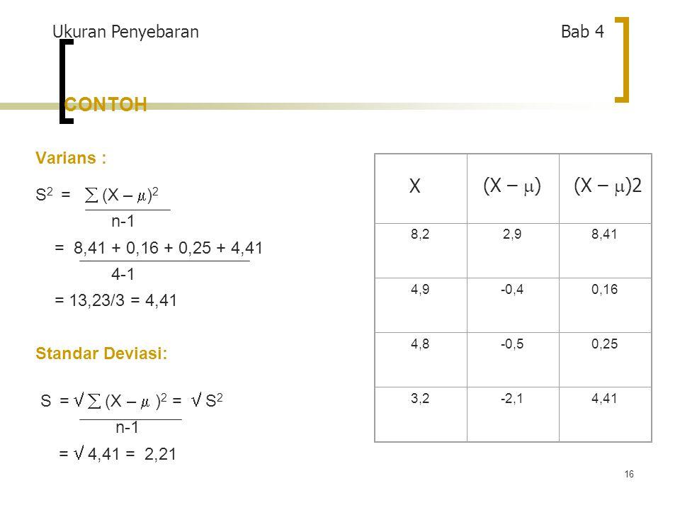 16 CONTOH 8,22,98,41 4,9-0,40,16 4,8-0,50,25 3,2-2,14,41 Varians : S 2 =  (X –  ) 2 n-1 = 8,41 + 0,16 + 0,25 + 4,41 4-1 = 13,23/3 = 4,41 Standar Deviasi: S =   (X –  ) 2 =  S 2 n-1 =  4,41 = 2,21 Ukuran Penyebaran Bab 4 (X –  )2 X (X –  )