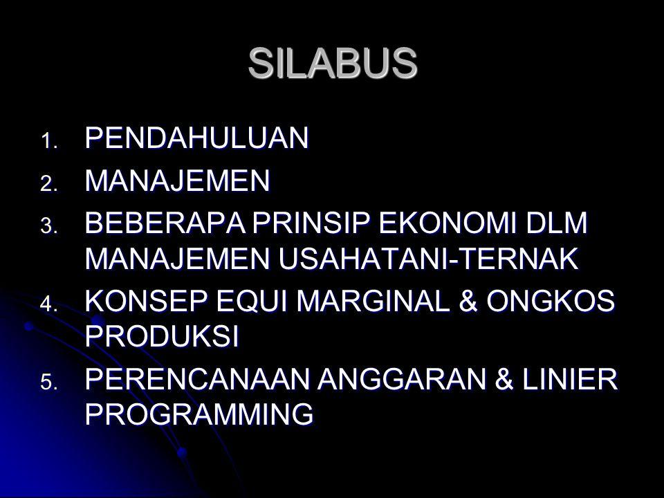 SILABUS 1.PENDAHULUAN 2. MANAJEMEN 3. BEBERAPA PRINSIP EKONOMI DLM MANAJEMEN USAHATANI-TERNAK 4.