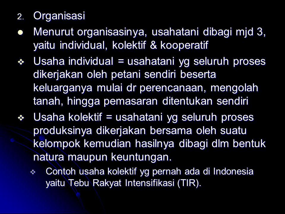 2. Organisasi Menurut organisasinya, usahatani dibagi mjd 3, yaitu individual, kolektif & kooperatif Menurut organisasinya, usahatani dibagi mjd 3, ya