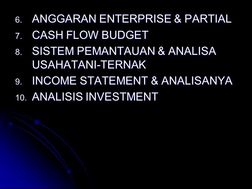 6.ANGGARAN ENTERPRISE & PARTIAL 7. CASH FLOW BUDGET 8.