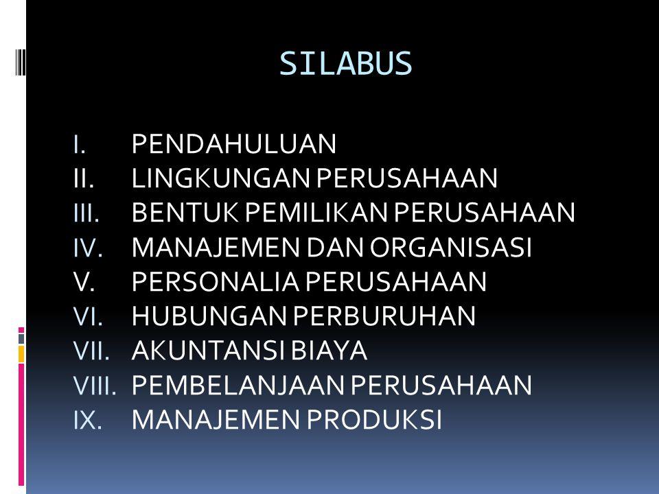SILABUS I. PENDAHULUAN II.LINGKUNGAN PERUSAHAAN III. BENTUK PEMILIKAN PERUSAHAAN IV. MANAJEMEN DAN ORGANISASI V.PERSONALIA PERUSAHAAN VI. HUBUNGAN PER