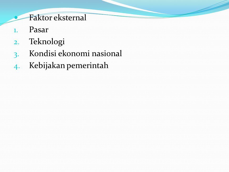 Faktor eksternal 1. Pasar 2. Teknologi 3. Kondisi ekonomi nasional 4. Kebijakan pemerintah