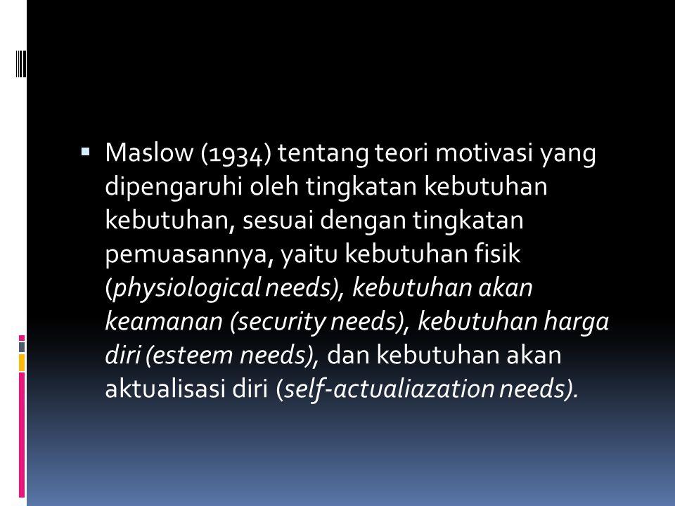  Maslow (1934) tentang teori motivasi yang dipengaruhi oleh tingkatan kebutuhan kebutuhan, sesuai dengan tingkatan pemuasannya, yaitu kebutuhan fisik (physiological needs), kebutuhan akan keamanan (security needs), kebutuhan harga diri (esteem needs), dan kebutuhan akan aktualisasi diri (self-actualiazation needs).