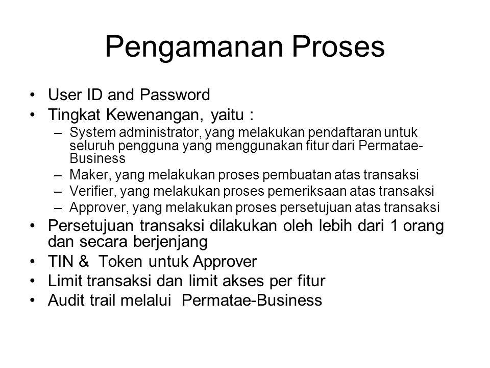 Pengamanan Proses User ID and Password Tingkat Kewenangan, yaitu : –System administrator, yang melakukan pendaftaran untuk seluruh pengguna yang mengg