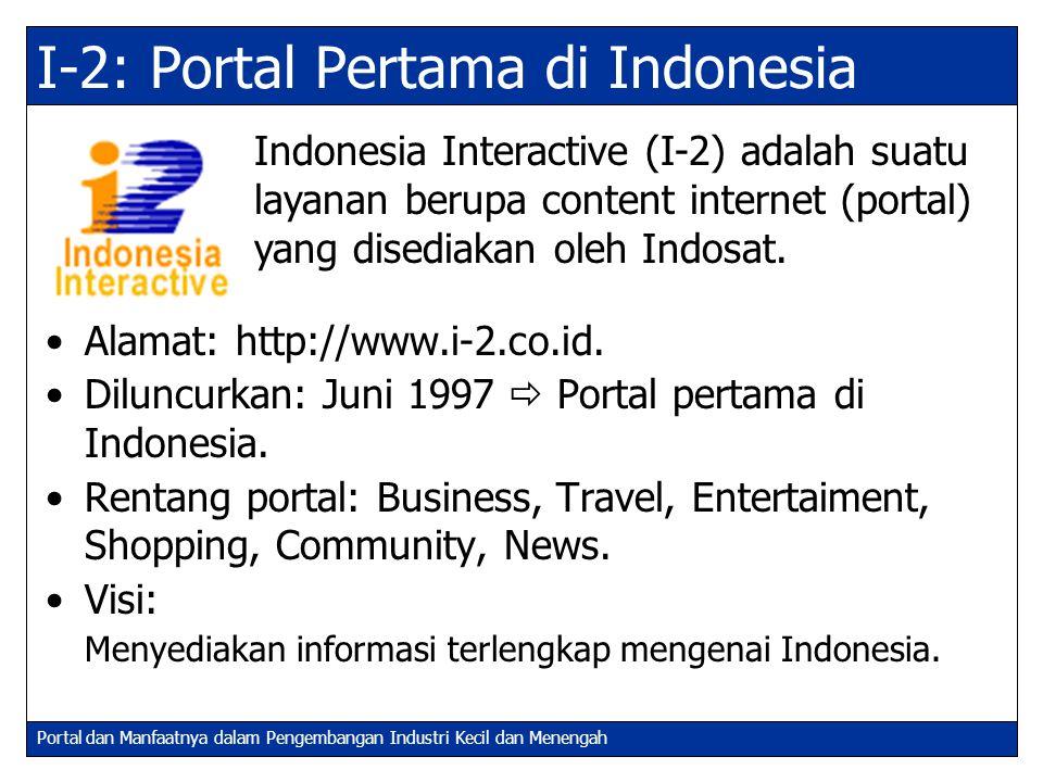 Portal dan Manfaatnya dalam Pengembangan Industri Kecil dan Menengah I-2: Portal Pertama di Indonesia Alamat: http://www.i-2.co.id. Diluncurkan: Juni